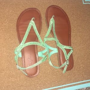 Mint Green Bedazzled Sandals